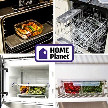 Home Planet Meal Prep Boxen Glas 2 Fach   1050ml 3er Set   97% weniger Kunststoffverpackungen   Mealprepdosen Glas   Meal Prep Glas   Lunchbox Glas   Bento Box Glas   Meal Prep Containers Glas - 7