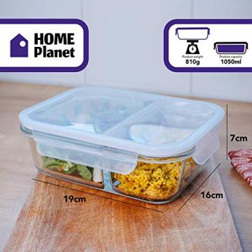 Home Planet Meal Prep Boxen Glas 2 Fach   1050ml 3er Set   97% weniger Kunststoffverpackungen   Mealprepdosen Glas   Meal Prep Glas   Lunchbox Glas   Bento Box Glas   Meal Prep Containers Glas - 8