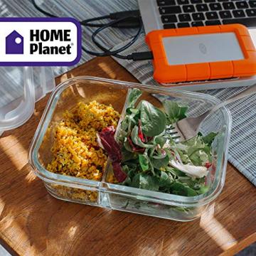 Home Planet Meal Prep Boxen Glas 2 Fach   1050ml 3er Set   97% weniger Kunststoffverpackungen   Mealprepdosen Glas   Meal Prep Glas   Lunchbox Glas   Bento Box Glas   Meal Prep Containers Glas - 9