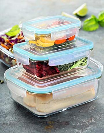 KICHLY Glas-Frischhaltedosen 12 Stück [6 Behälter + 6 Deckel] - Glasbehälter - Transparente Deckel - BPA frei - für Home Küche oder Restaurant - 2