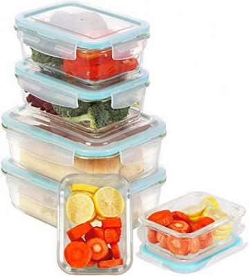 KICHLY Glas-Frischhaltedosen 12 Stück [6 Behälter + 6 Deckel] - Glasbehälter - Transparente Deckel - BPA frei - für Home Küche oder Restaurant - 3