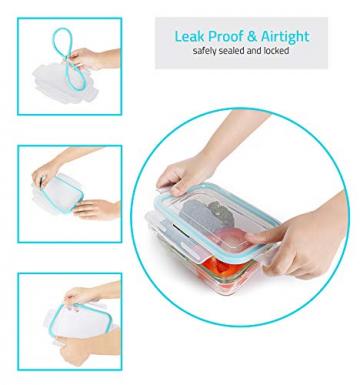 KICHLY Glas-Frischhaltedosen 12 Stück [6 Behälter + 6 Deckel] - Glasbehälter - Transparente Deckel - BPA frei - für Home Küche oder Restaurant - 4