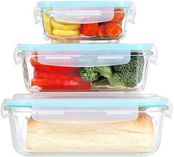 KICHLY Glas-Frischhaltedosen 12 Stück [6 Behälter + 6 Deckel] - Glasbehälter - Transparente Deckel - BPA frei - für Home Küche oder Restaurant - 5