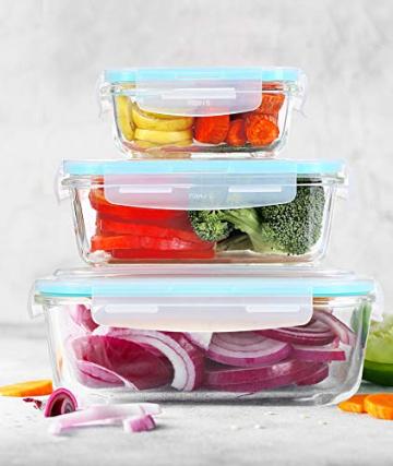 KICHLY Glas-Frischhaltedosen 12 Stück [6 Behälter + 6 Deckel] - Glasbehälter - Transparente Deckel - BPA frei - für Home Küche oder Restaurant - 8