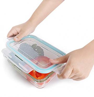 KICHLY Glas-Frischhaltedosen 12 Stück [6 Behälter + 6 Deckel] - Glasbehälter - Transparente Deckel - BPA frei - für Home Küche oder Restaurant - 9