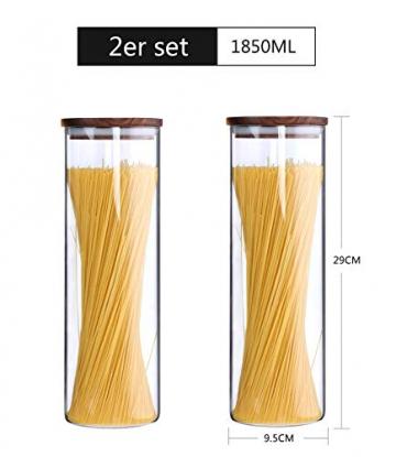 KKC Vorratsdosen Glas Luftdicht, Spaghetti Glas,Spaghettidose,Pasta Dose,Spaghetti Aufbewahrung Glas,Hoch Glasbehälter mit Holzdeckel für Nudeln Mehl,1850ML im 2er Set - 3