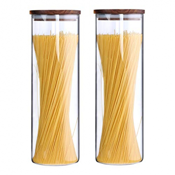 KKC Vorratsdosen Glas Luftdicht, Spaghetti Glas,Spaghettidose,Pasta Dose,Spaghetti Aufbewahrung Glas,Hoch Glasbehälter mit Holzdeckel für Nudeln Mehl,1850ML im 2er Set - 1