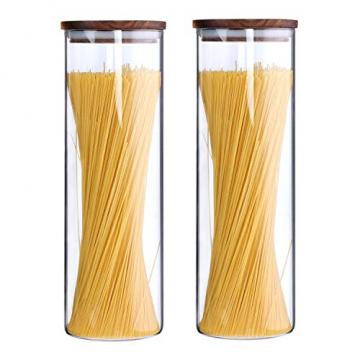 KKC Vorratsdosen Glas Luftdicht, Spaghetti Glas,Spaghettidose,Pasta Dose,Spaghetti Aufbewahrung Glas,Hoch Glasbehälter mit Holzdeckel für Nudeln Mehl,1850ML im 2er Set - 6