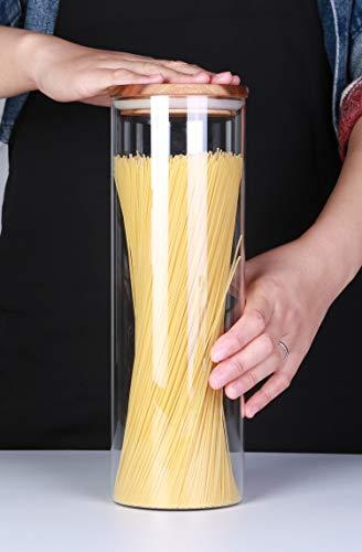 KKC Vorratsdosen Glas Luftdicht, Spaghetti Glas,Spaghettidose,Pasta Dose,Spaghetti Aufbewahrung Glas,Hoch Glasbehälter mit Holzdeckel für Nudeln Mehl,1850ML im 2er Set - 8