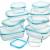 Küche Glas Food Container, Brotdose, Babynahrung, Essen Prep, umweltfreundlich Vorratsdosen mit airtigh Deckel, BPA-frei, Borosilikatglas, Pasta, Salat, stapelbar 9 Pcs Set Clear & Blue - 5
