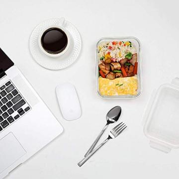 Küche Glas Food Container, Brotdose, Babynahrung, Essen Prep, umweltfreundlich Vorratsdosen mit airtigh Deckel, BPA-frei, Borosilikatglas, Pasta, Salat, stapelbar 9 Pcs Set Clear & Blue - 7