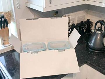 Küche Glas Food Container, Brotdose, Babynahrung, Essen Prep, umweltfreundlich Vorratsdosen mit airtigh Deckel, BPA-frei, Borosilikatglas, Pasta, Salat, stapelbar 9 Pcs Set Clear & Blue - 8