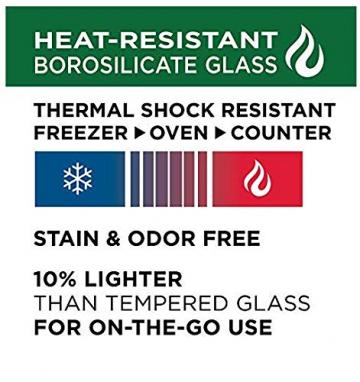 LOCK & LOCK Boroseal Frischhaltedosen aus Glas - 2er Vorratsdosenset - rund - mit Deckel für Backofen, Mikrowelle & zum Einfrieren - 950 ml - 3