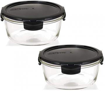 LOCK & LOCK Boroseal Frischhaltedosen aus Glas - 2er Vorratsdosenset - rund - mit Deckel für Backofen, Mikrowelle & zum Einfrieren - 950 ml - 1