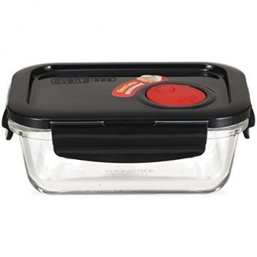 LOCK & LOCK Frischhaltedose aus Glas mikrowellengeeignet - Oven Glass - Für Backofen, Mikrowelle & zum Einfrieren - Mikrowellengeschirr, 380 ml - 1