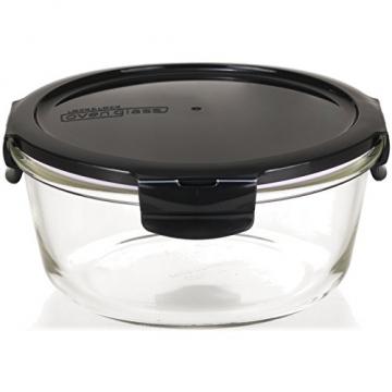 LOCK & LOCK Frischhaltedosen aus Glas mit Deckel, 3er Set rund - OVEN GLASS - Für den Kühlschrank & zum Einfrieren - Auflaufform Backofen & Mikrowelle - 2