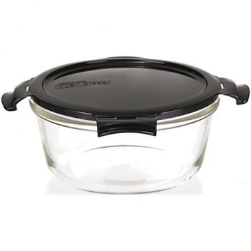 LOCK & LOCK Frischhaltedosen aus Glas mit Deckel, 3er Set rund - OVEN GLASS - Für den Kühlschrank & zum Einfrieren - Auflaufform Backofen & Mikrowelle - 3