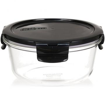 LOCK & LOCK Frischhaltedosen aus Glas mit Deckel, 3er Set rund - OVEN GLASS - Für den Kühlschrank & zum Einfrieren - Auflaufform Backofen & Mikrowelle - 5