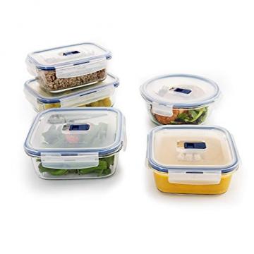 Luminarc Pure Box Active Frischhaltedosen aus Glas, extra stark, BPA-frei, Mikrowelleventil, 5 Stück - 6