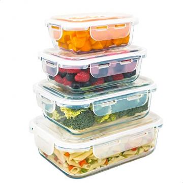Luxury & Grace 4er Packung Glas Frischhaltedosen. Verschiedene Größen (0,36+0,60+1+1,50 L). Luftdicht. Geeignet für Mikrowelle, Ofen, Gefrierschrank und Spülmaschine. BPA frei. - 1