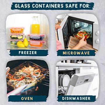 Luxury & Grace 4er Packung Glas Frischhaltedosen. Verschiedene Größen (0,36+0,60+1+1,50 L). Luftdicht. Geeignet für Mikrowelle, Ofen, Gefrierschrank und Spülmaschine. BPA frei. - 5
