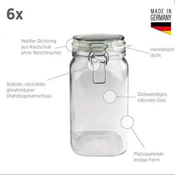 MÄSER 925341 Gothika, Einmachgläser 1,45 l, 6er Set, made in Germany, Vorratsgläser mit Deckel und Drahtbügel zum luftdichten Aufbewahren, Einkochen und Einlegen, Glas, transparent - 2
