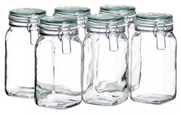 MÄSER 925341 Gothika, Einmachgläser 1,45 l, 6er Set, made in Germany, Vorratsgläser mit Deckel und Drahtbügel zum luftdichten Aufbewahren, Einkochen und Einlegen, Glas, transparent - 1