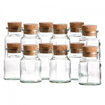 MamboCat 12er Set Gewürzgläser | Füllmenge 150 ml | Wiederverwendbare Glasdose + Korkverschluss | hochwertiges rundes Glas | Aufbewahrung von Tee Kräutern Gewürzen - 3