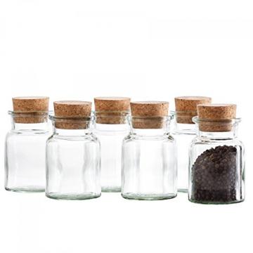 MamboCat 12er Set Gewürzgläser | Füllmenge 150 ml | Wiederverwendbare Glasdose + Korkverschluss | hochwertiges rundes Glas | Aufbewahrung von Tee Kräutern Gewürzen - 4