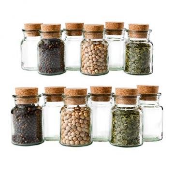 MamboCat 12er Set Gewürzgläser | Füllmenge 150 ml | Wiederverwendbare Glasdose + Korkverschluss | hochwertiges rundes Glas | Aufbewahrung von Tee Kräutern Gewürzen - 1
