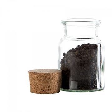 MamboCat 12er Set Gewürzgläser | Füllmenge 150 ml | Wiederverwendbare Glasdose + Korkverschluss | hochwertiges rundes Glas | Aufbewahrung von Tee Kräutern Gewürzen - 5