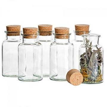 MamboCat 12er Set Gewürzgläser | Füllmenge 300 ml | Wiederverwendbare Glasdose + Korkverschluss | Hochwertiges rundes Glas | Aufbewahrung von Tee Kräutern Gewürzen - 3