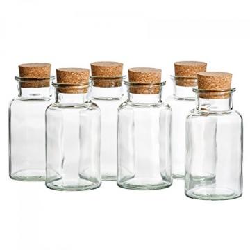 MamboCat 12er Set Gewürzgläser | Füllmenge 300 ml | Wiederverwendbare Glasdose + Korkverschluss | Hochwertiges rundes Glas | Aufbewahrung von Tee Kräutern Gewürzen - 6