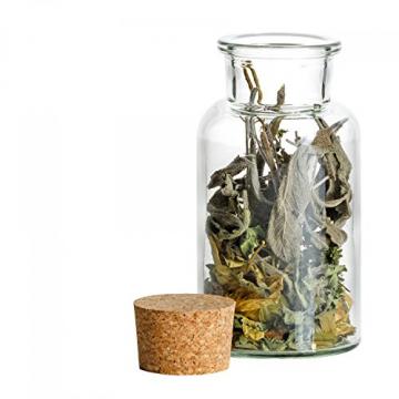 MamboCat 12er Set Gewürzgläser | Füllmenge 300 ml | Wiederverwendbare Glasdose + Korkverschluss | Hochwertiges rundes Glas | Aufbewahrung von Tee Kräutern Gewürzen - 8