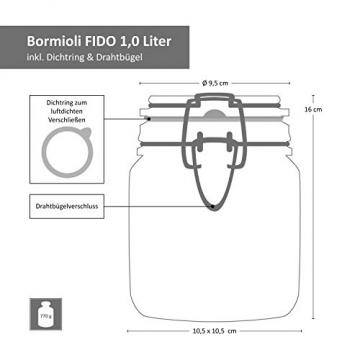 MamboCat 6-TLG. Set Fido Gläser mit Bügelverschluss I Einmachglas Drahtbügel in 3 Größen I Bügelglas 750ml - Vorratsglas 500ml - Drahtbügelglas 1l I Vierkant Glasbehälter zur Aufbewahrung - 2
