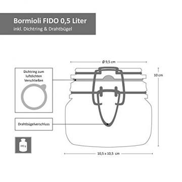 MamboCat 6-TLG. Set Fido Gläser mit Bügelverschluss I Einmachglas Drahtbügel in 3 Größen I Bügelglas 750ml - Vorratsglas 500ml - Drahtbügelglas 1l I Vierkant Glasbehälter zur Aufbewahrung - 4