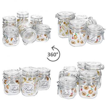 MamboCat 6-TLG. Set Fido Gläser mit Bügelverschluss I Einmachglas Drahtbügel in 3 Größen I Bügelglas 750ml - Vorratsglas 500ml - Drahtbügelglas 1l I Vierkant Glasbehälter zur Aufbewahrung - 6