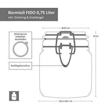 MamboCat 6-TLG. Set Fido Gläser mit Bügelverschluss I Einmachglas Drahtbügel in 3 Größen I Bügelglas 750ml - Vorratsglas 500ml - Drahtbügelglas 1l I Vierkant Glasbehälter zur Aufbewahrung - 7