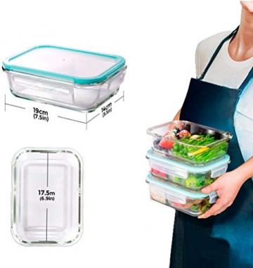 MASTERTOP 6er Glas-Frischhaltedosen Set (6 Glasbehälter + 6 Deckel) Transparentes Aufbewahrungsbox,Luftdichte Aufschnittbox mit Deckel zum Aufbewahren - 2