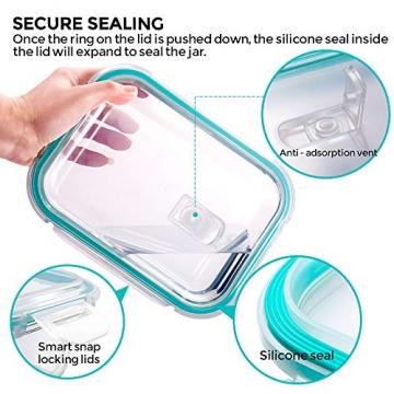 MASTERTOP 6er Glas-Frischhaltedosen Set (6 Glasbehälter + 6 Deckel) Transparentes Aufbewahrungsbox,Luftdichte Aufschnittbox mit Deckel zum Aufbewahren - 3