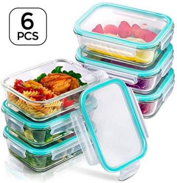 MASTERTOP 6er Glas-Frischhaltedosen Set (6 Glasbehälter + 6 Deckel) Transparentes Aufbewahrungsbox,Luftdichte Aufschnittbox mit Deckel zum Aufbewahren - 1