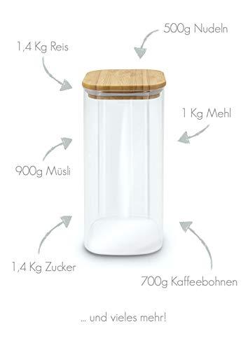 MOLIS Vorratsglas - Eckiges, stabiles Vorratsglas mit Bambusdeckel - 1 Kg Mehl - 1,5 Liter - große Vorratsdose - vielseitig einsetzbarer und aromadichter Vorratsbehälter - 4