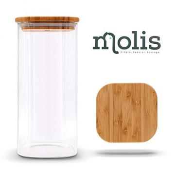 MOLIS Vorratsglas - Eckiges, stabiles Vorratsglas mit Bambusdeckel - 1 Kg Mehl - 1,5 Liter - große Vorratsdose - vielseitig einsetzbarer und aromadichter Vorratsbehälter - 1