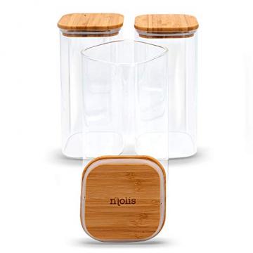MOLIS Vorratsglas - Eckiges, stabiles Vorratsglas mit Bambusdeckel - 1 Kg Mehl - 1,5 Liter - große Vorratsdose - vielseitig einsetzbarer und aromadichter Vorratsbehälter - 5
