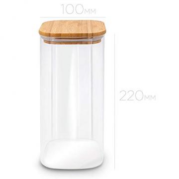 MOLIS Vorratsglas - Eckiges, stabiles Vorratsglas mit Bambusdeckel - 1 Kg Mehl - 1,5 Liter - große Vorratsdose - vielseitig einsetzbarer und aromadichter Vorratsbehälter - 6