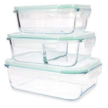 Navaris Glas Frischhaltedose Set mit Deckel - 3x Vorratsdosen in 3 Größen - auslaufsicher hitzebeständig kältebeständig - Glasbehälter Boxen - 2
