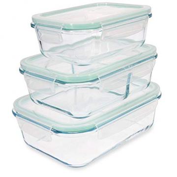 Navaris Glas Frischhaltedose Set mit Deckel - 3x Vorratsdosen in 3 Größen - auslaufsicher hitzebeständig kältebeständig - Glasbehälter Boxen - 1