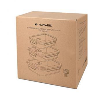 Navaris Glas Frischhaltedose Set mit Deckel - 3x Vorratsdosen in 3 Größen - auslaufsicher hitzebeständig kältebeständig - Glasbehälter Boxen - 5
