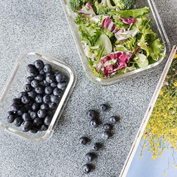 Navaris Glas Frischhaltedose Set mit Deckel - 3x Vorratsdosen in 3 Größen - auslaufsicher hitzebeständig kältebeständig - Glasbehälter Boxen - 6