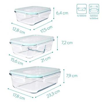 Navaris Glas Frischhaltedose Set mit Deckel - 3x Vorratsdosen in 3 Größen - auslaufsicher hitzebeständig kältebeständig - Glasbehälter Boxen - 7
